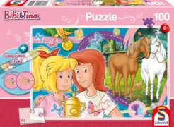 Schmidt Spiele Puzzle Bibi und Tina Pferdeglück 100 Teile mit Slap-Snap-Band