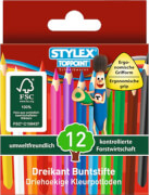 Stylex 12 kurze Buntstifte aus FSC-Holz